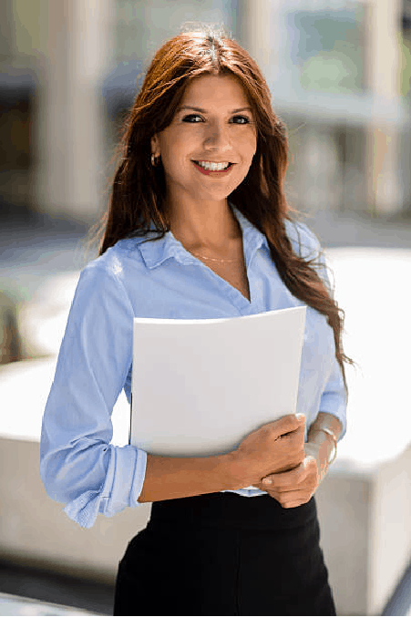 Woman real estate agent smiling and holding industry award